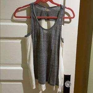 AG gray and white silk tank top